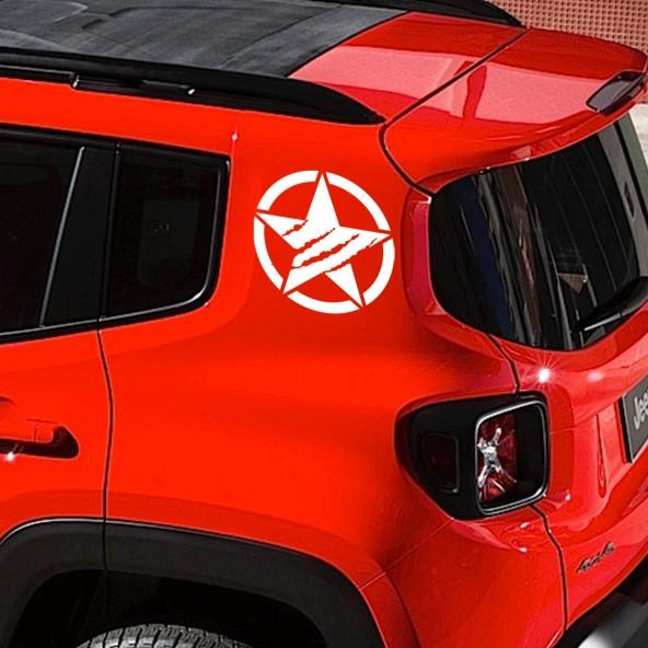2pz Stelle Graffio Artiglio Erosed Jeep Renegade Adesivi Esercito Militare US ARMY Montanti Stickers Adesivo