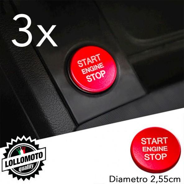3x Tasto in Alluminio Anodizzato Rosso Accensione Compatibile con Audi A4 A5 A6 Q7 Q5