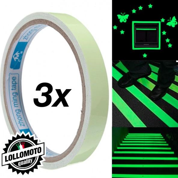 3x Rotoli Adesivi luminosi Nastro da 1cm x 10mt Fluo Adesivi Auto Moto Tuning Sicurezza  Fluorescente