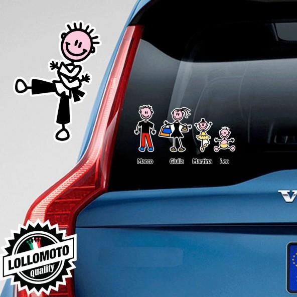 Bimbo Karate Adesivo Vetro Auto Famiglia Stickers Colorati