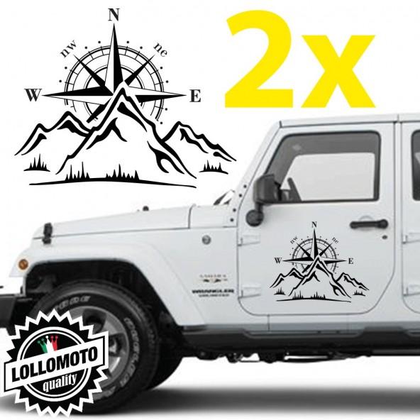 2pz Rosa dei Venti con Montagne Adesivo Stickers per Auto Jeep e Suv