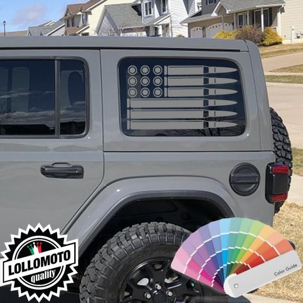Adesivo Bandiera Americana Proiettili Stickers Compatibile con JEEP WRANGLER UNLIMITED Decal Auto