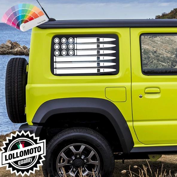 Adesivo Bandiera Americana Proiettili Stickers Compatibile con SUZUKI GIMNY Decal Auto