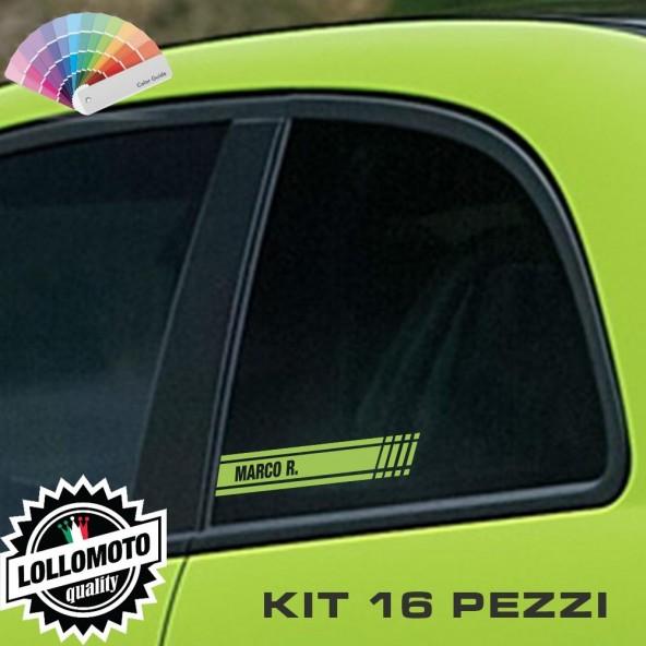 Kit 16 PZ di Strisce ADESIVE Personalizzate con Nome COMPATIBILI con Abarth 500 E Fiat 500