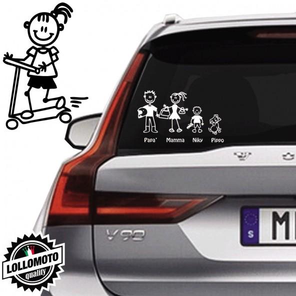 Bimba Con Monopattino Vetro Auto Famiglia StickersFamily