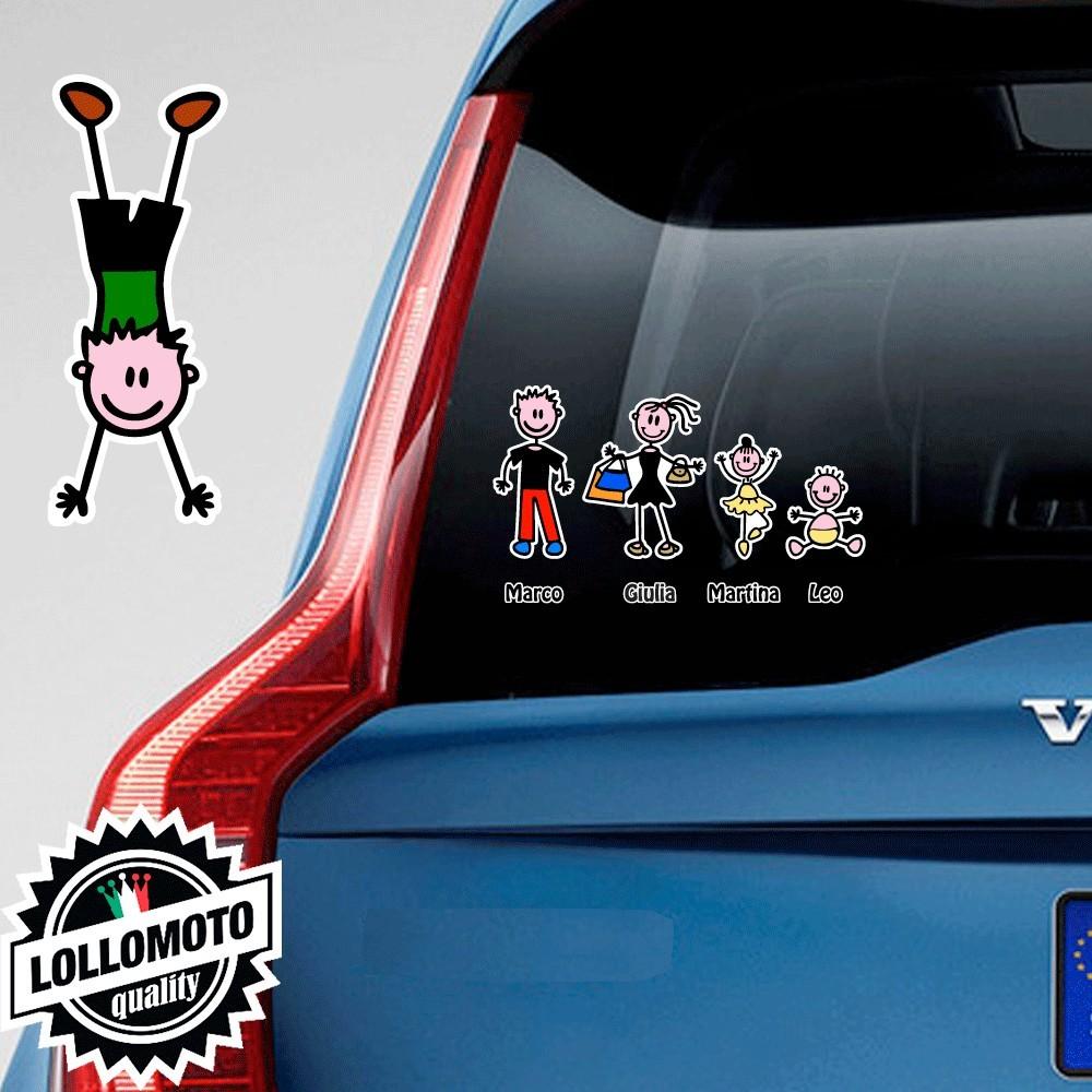 Bimbo Ginnasta Adesivo Vetro Auto Famiglia Stickers Colorati