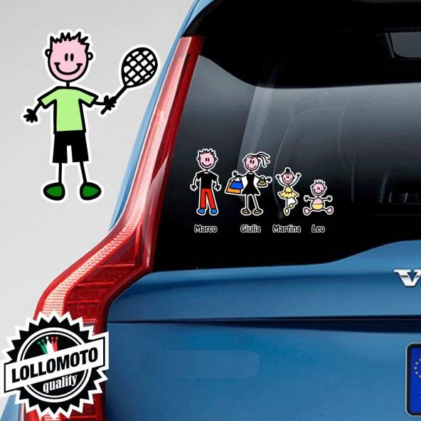 Bimbo Tennista Adesivo Vetro Auto Famiglia Stickers Colorati