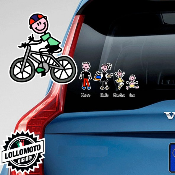 Bimbo Con Bicicletta Adesivo Vetro Auto Famiglia Stickers Colorati Family Stickers Family Decal