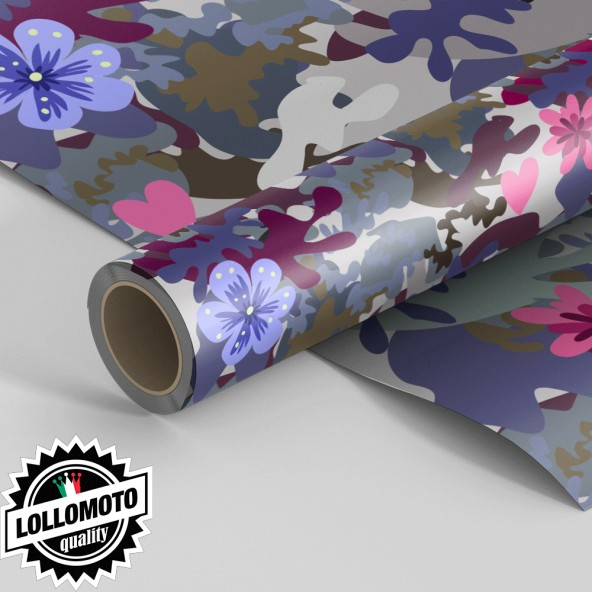 Pellicola BEAUTIFUL-FLOWERS-CAMOUFLAGE-MILITARY Pellicola Car Wrapping Adesiva Rivestimento Auto