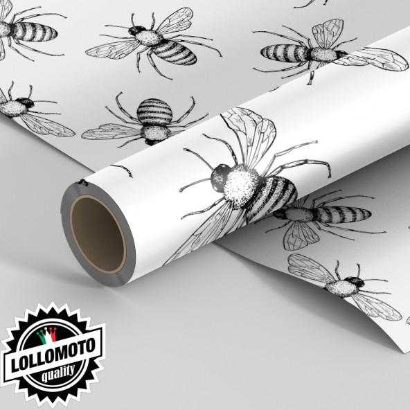 Pellicola BEE-API-BLACK-WHITE-Pellicola Car Wrapping Adesiva Rivestimento Auto
