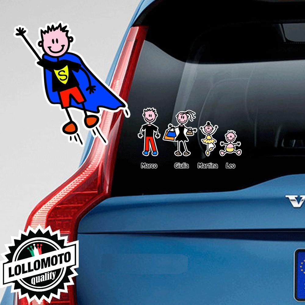 Bimbo Superman Adesivo Vetro Auto Famiglia Stickers Colorati