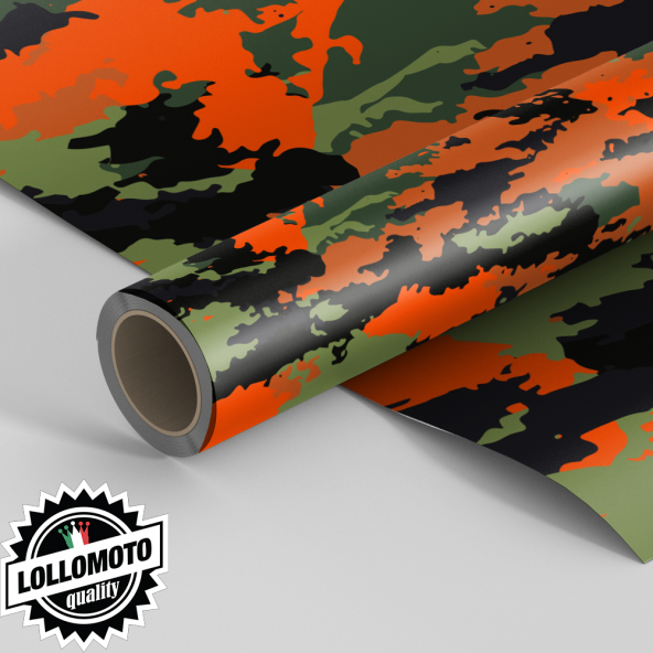 Pellicola CAMOUFLAGE Orange MILITARY Pellicola Car Wrapping Adesiva Rivestimento Auto