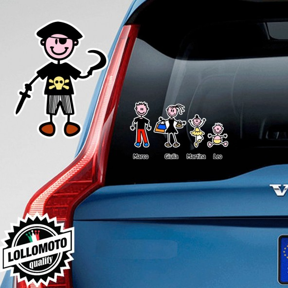 Bimbo Pirata Adesivo Vetro Auto Famiglia Stickers Colorati Family Stickers Family Decal