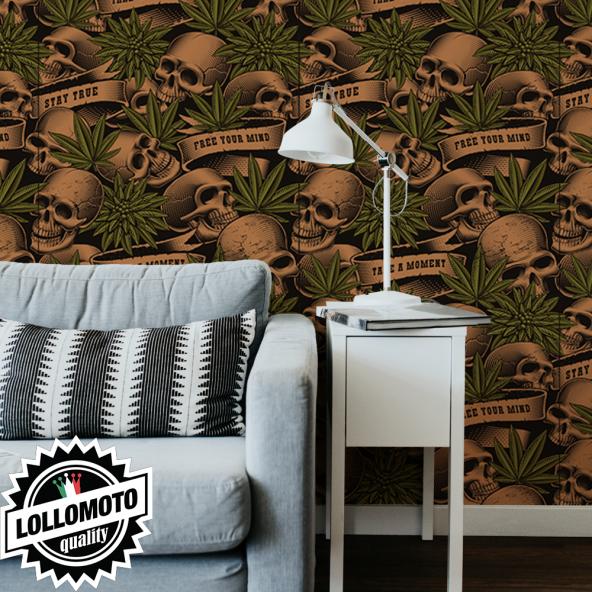 Carta da Parati Adesiva Teschi e Marijuana Personalizzata Interior Design Arredamento Personalizzato Wall Paper