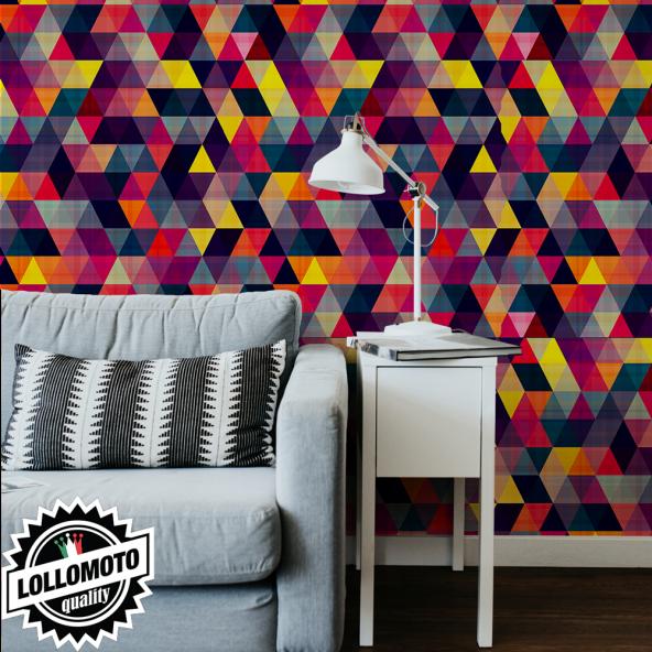 Carta da Parati Adesiva Triangoli Colorati Professionale Interior Design Arredamento Personalizzato Wall Paper