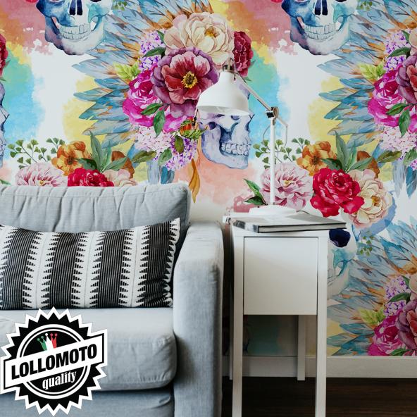 Carta da Parati Adesiva Teschi e Rose Professionale Interior Design Arredamento Personalizzato Wall Paper