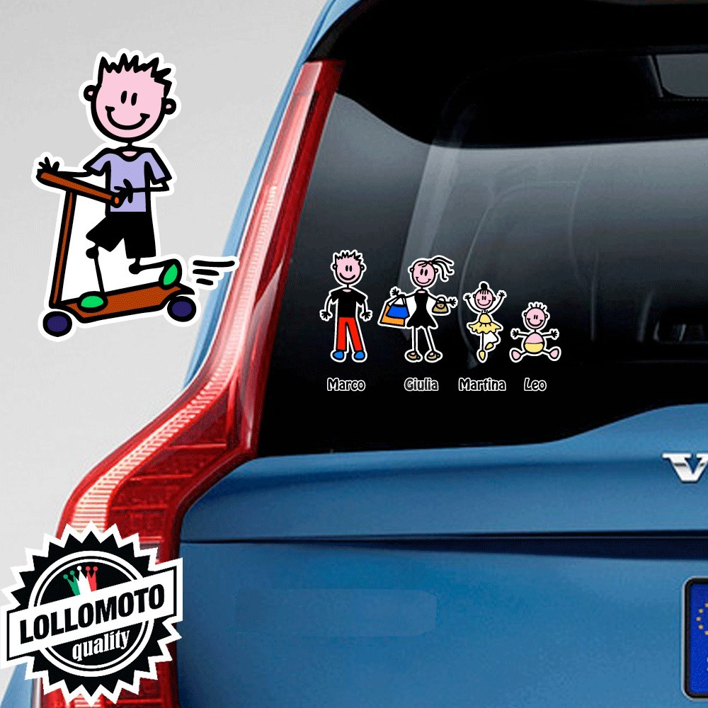 Bimbo Con Monopattino Adesivo Vetro Auto Famiglia Stickers