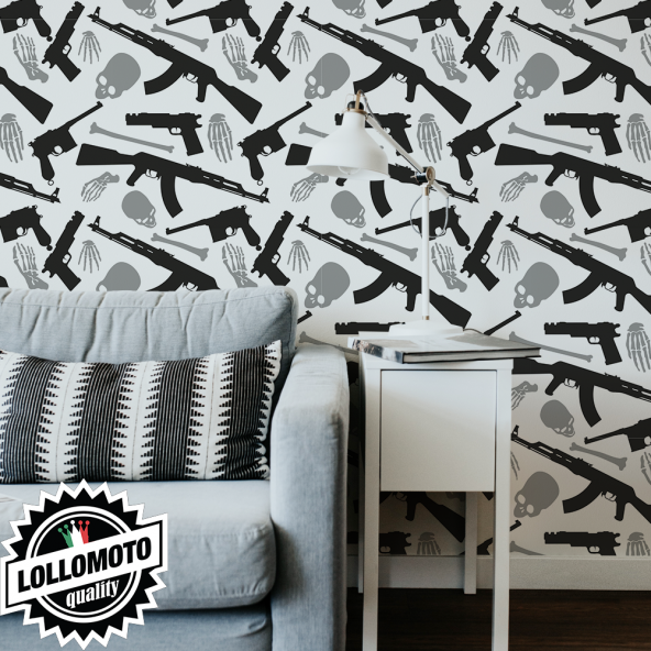 Carta da Parati Adesiva Teschi e Pistole Professionale Interior Design Arredamento Personalizzato Wall Paper