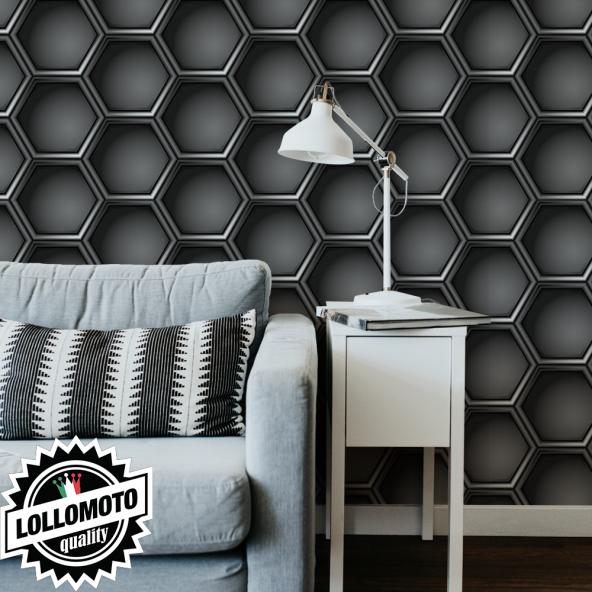 Carta da Parati Adesiva LOLLOMOTO CARBONIO ESAGONALE Professionale Interior Design Arredamento Personalizzato Wall Paper