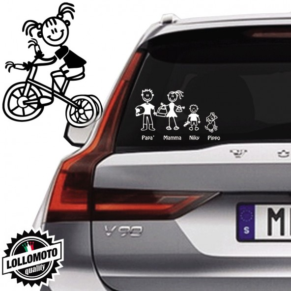 Bimba Con Triciclo Vetro Auto Famiglia StickersFamily Stickers Family Decal
