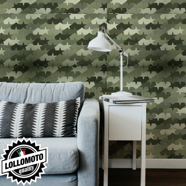 Carta da Parati Adesiva LOLLOMOTO MIMETICO EROSED ARMY Professionale Interior Design Arredamento Personalizzato Wall Paper