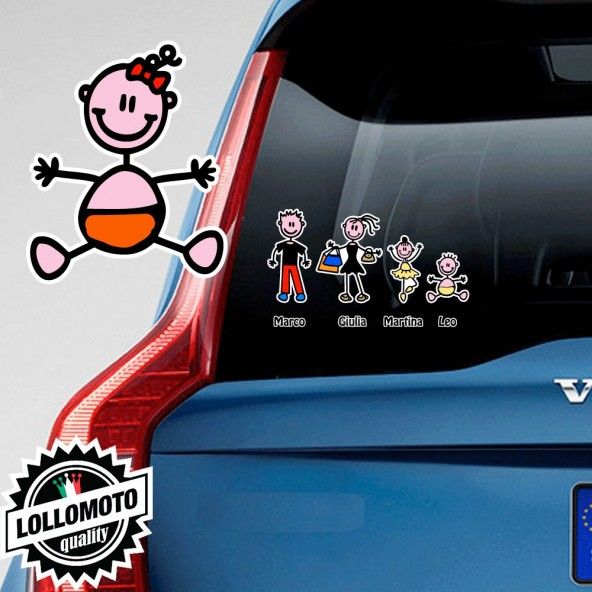 Neonata con Fiocco Adesivo Vetro Auto Famiglia Stickers Colorati Family Stickers Family Decal