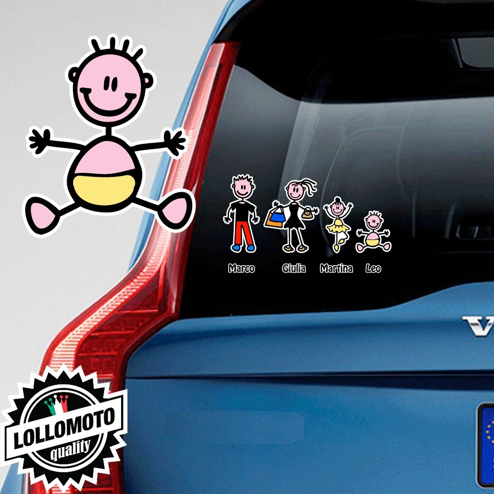 Neonato Adesivo Vetro Auto Famiglia Stickers Colorati Family