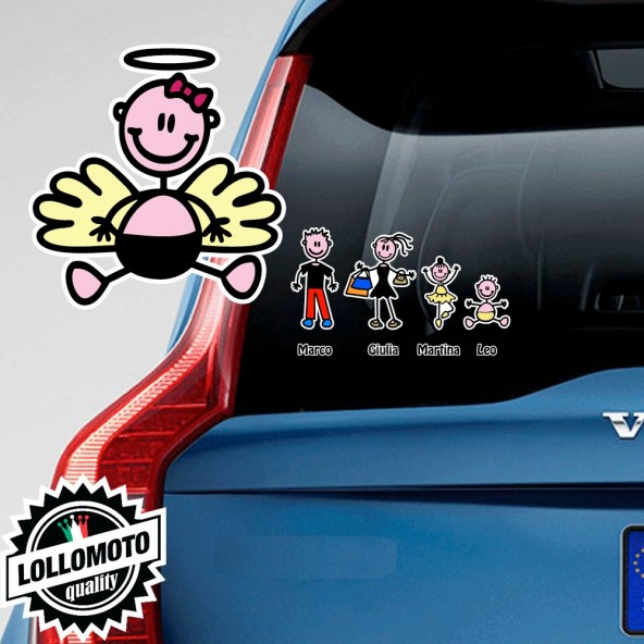 Angelo Neonata con Fiocchetto Adesivo Vetro Auto Famiglia Stickers Colorati Family Stickers Family Decal