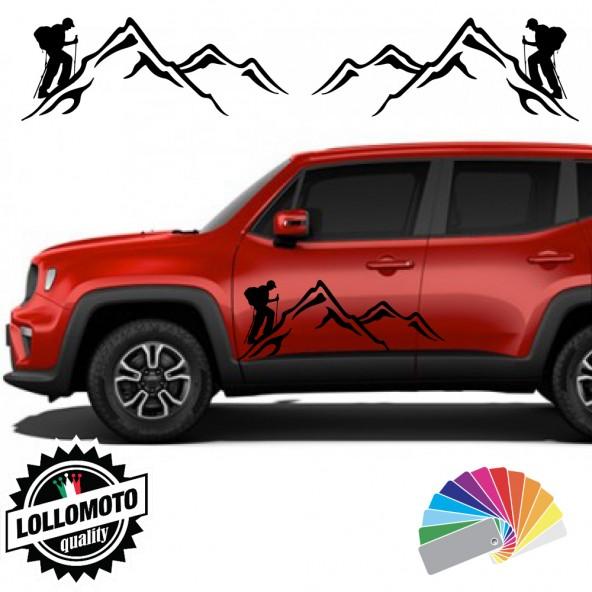 2x Adesivi JEEP RENEGADE Sportelli Fiancate SCALATORI con MONTAGNE Alpinisti Trekking Stickers