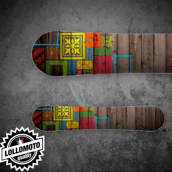 Adesivo Tavola Snowboard Wood STK02 Personalizzata Wrapping Stickers Decal