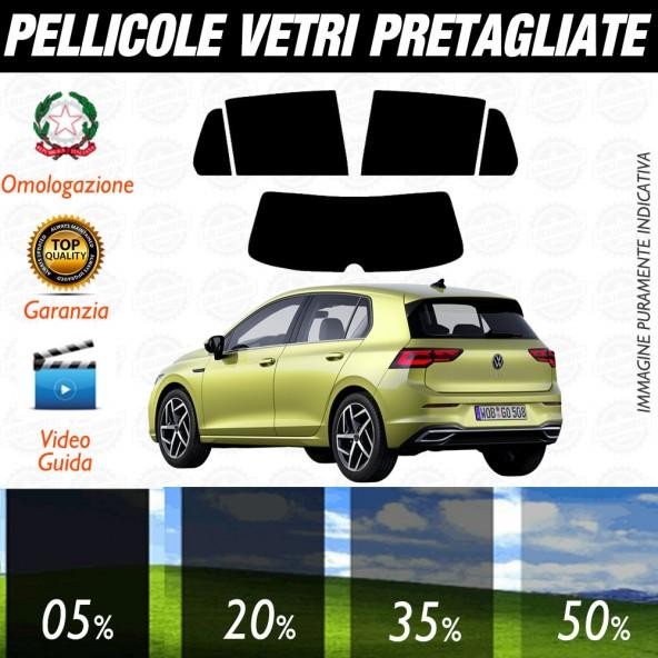Volkswagen Golf 8 5P dal 2020 ad OGGI Pellicole Oscuramento Vetri Posteriori Auto Pre Tagliate a Misura