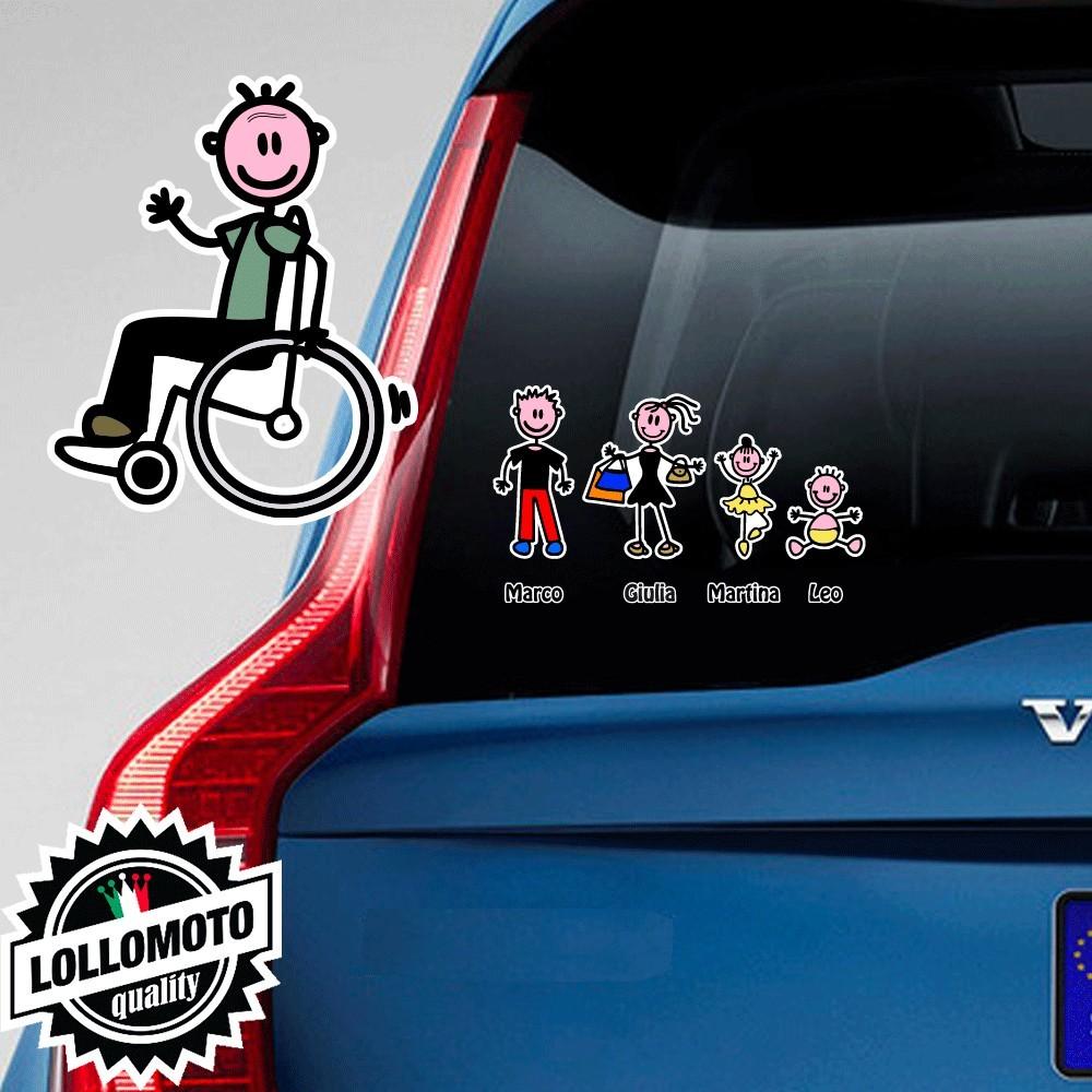 Nonno Diversamente Abile Adesivo Vetro Auto Famiglia Stickers