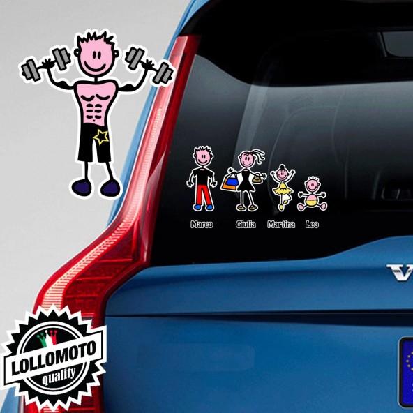 Ragazzo Con Pesi Adesivo Vetro Auto Famiglia Stickers Colorati