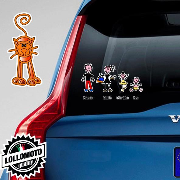 Gatto di Fronte Rosso Adesivo Vetro Auto Famiglia Stickers