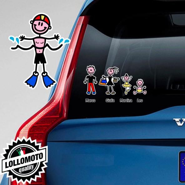Bimbo Con Pinne Adesivo Vetro Auto Famiglia Stickers Colorati