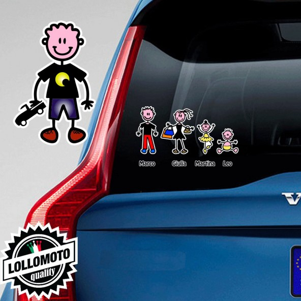 Bimbo Con Macchinina Adesivo Vetro Auto Famiglia Stickers Colorati Family Stickers Family Decal
