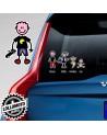 Bimbo Con Macchinina Adesivo Vetro Auto Famiglia Stickers