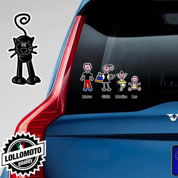 Gatto di Fronte Nero Adesivo Vetro Auto Famiglia Stickers Colorati Family Stickers Family Decal