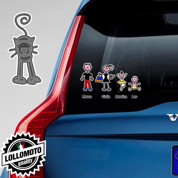Gatto di Fronte Grigio Adesivo Vetro Auto Famiglia Stickers Colorati Family Stickers Family Decal