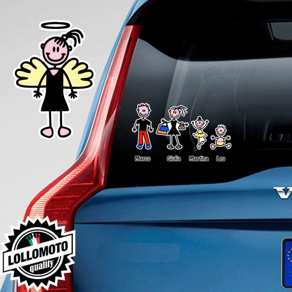 Ragazza Angelo Adesivo Vetro Auto Famiglia Stickers Colorati Family Stickers Family Decal