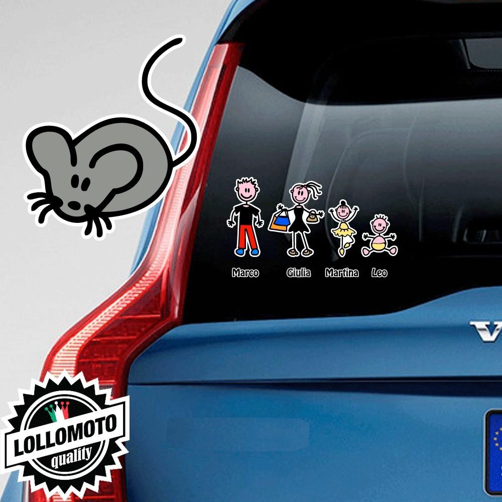 Topolino Adesivo Vetro Auto Famiglia Stickers Colorati Family