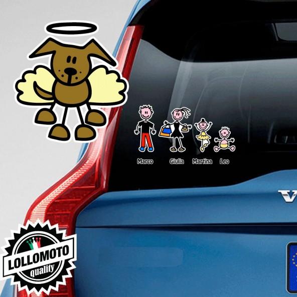 Cane Angelo Adesivo Vetro Auto Famiglia Stickers Colorati