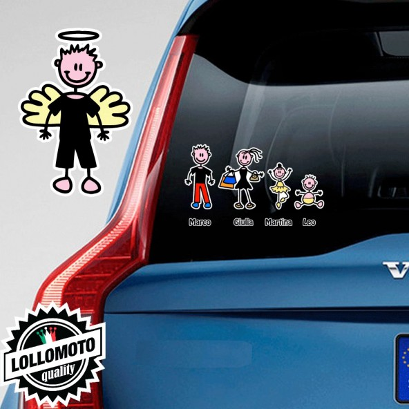 Ragazzo Angelo Adesivo Vetro Auto Famiglia Stickers Colorati