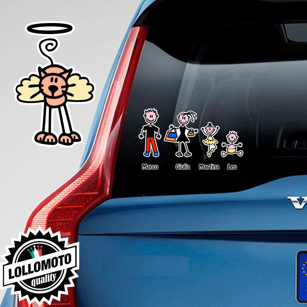 Gatto Angelo Adesivo Vetro Auto Famiglia Stickers Colorati