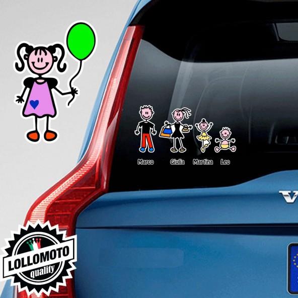 Bimba Con Palloncino Adesivo Vetro Auto Famiglia Stickers