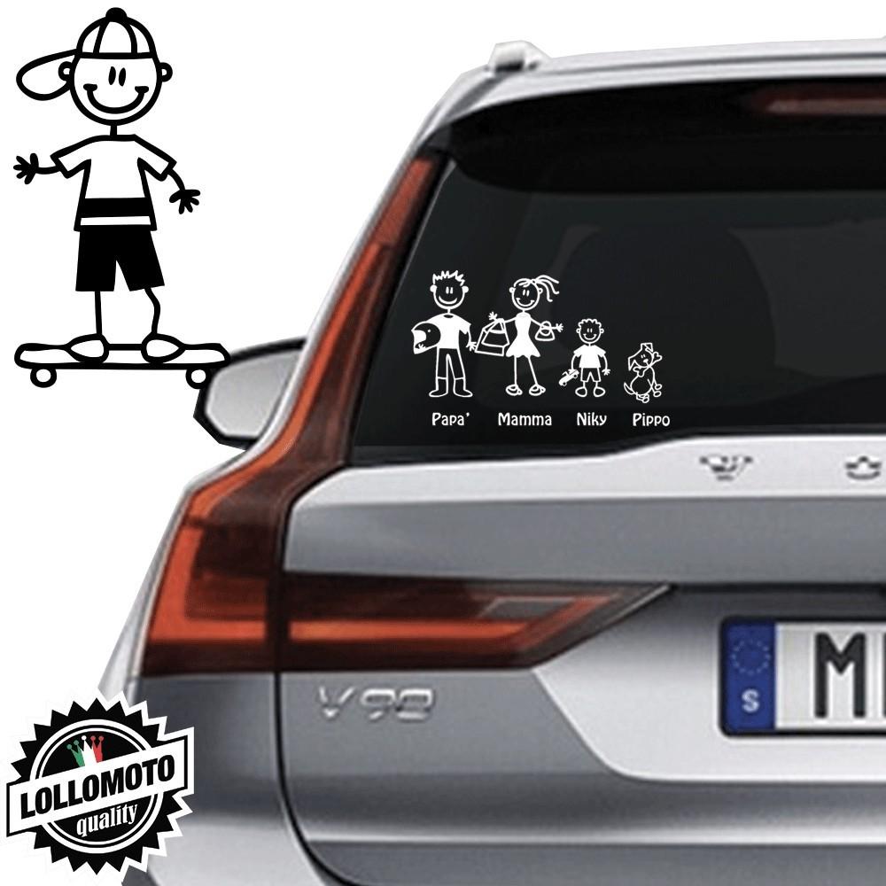 Bimbo Skateboard Vetro Auto Famiglia StickersFamily Stickers