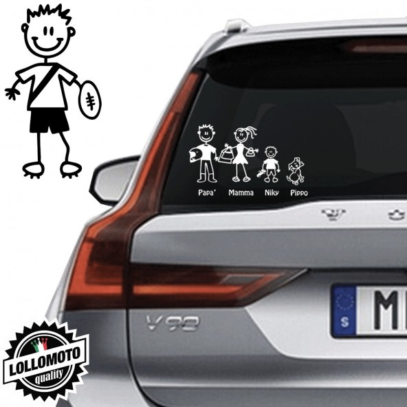 Bimbo Con Pallone Rugby Vetro Auto Famiglia StickersFamily Stickers Family Decal