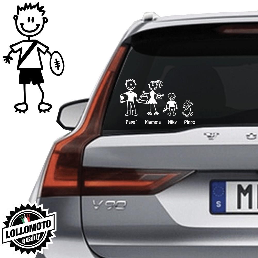 Bimbo Con Pallone Rugby Vetro Auto Famiglia StickersFamily