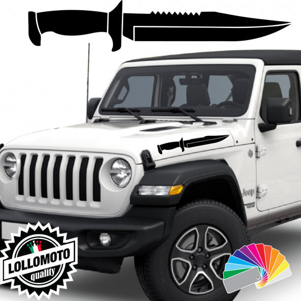 2x Adesivi JEEP WRANGLER Cofano COLTELLO MILITARE Stickers Army Military 4x4