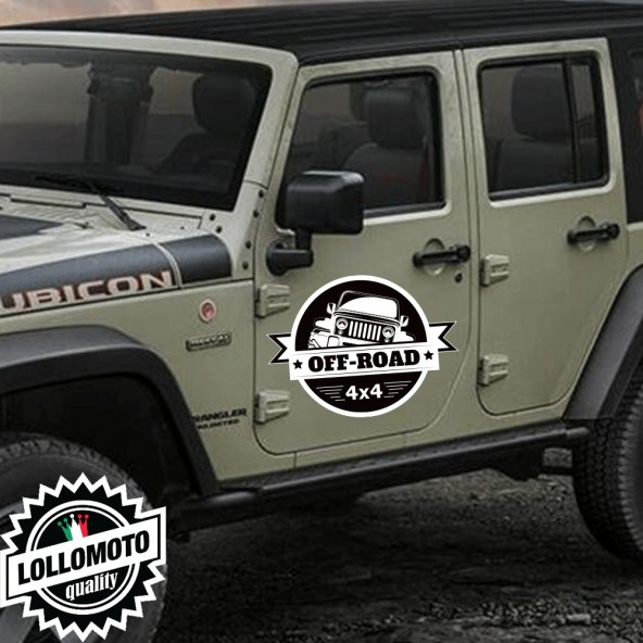 2x Adesivi JEEP WRANGLER SPORTELLI OFF-ROAD 4X4 Stickers 4x4